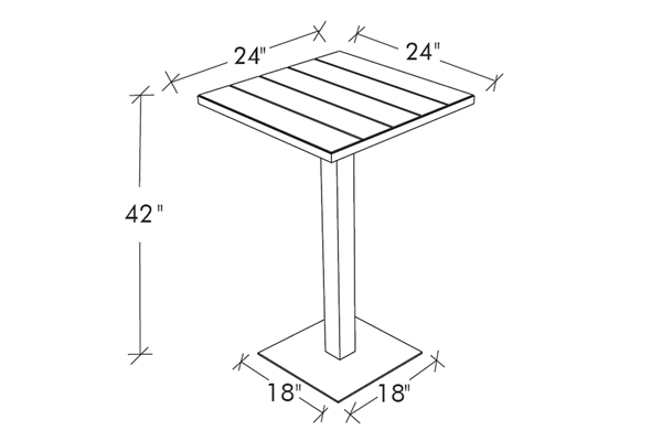 Etra Bar Height Small Bistro Table Modern Outdoor