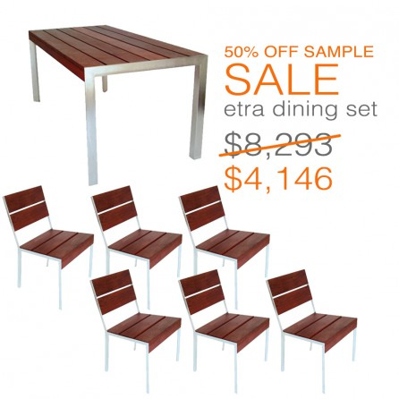 This dining set consists of one etra dining table and six etra large chairs.